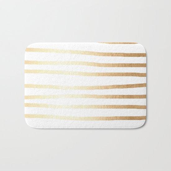 Simply Drawn Stripes Golden Copper Sun Bath Mat