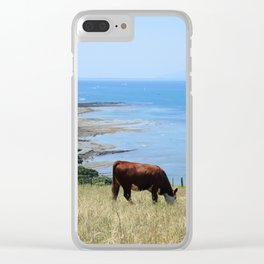 Cow by the Ocean Clear iPhone Case