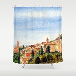Assisi Italy with Basilica Of San Francesco Shower Curtain
