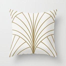 Diamond Series Floral Burst Gold on White Throw Pillow