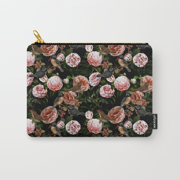 Vintage & Shabby Chic - Blush Camellia & Kingfishers Carry-All Pouch