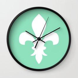 Fleur de Lis (White & Mint) Wall Clock