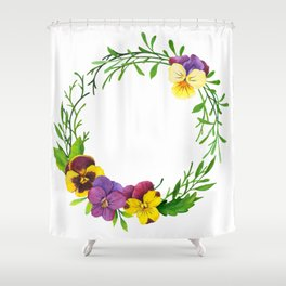 Watercolor pansies wreath Shower Curtain