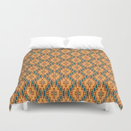 Tribal Diamond Pattern in Teal, Terracotta and Apricot Duvet Cover