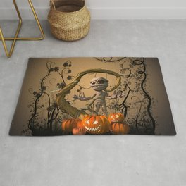 Funny mummy with pumpkins Rug