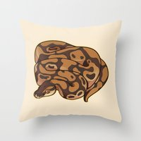monty python Throw Pillows featuring Ball Python by Cargorabbit