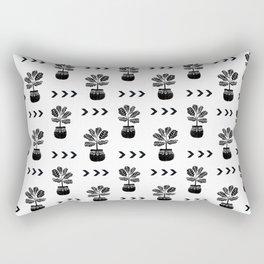 Fiddle Leaf Fig tree linocut black and white minimal modern lino carving monochromatic trendy art Rectangular Pillow