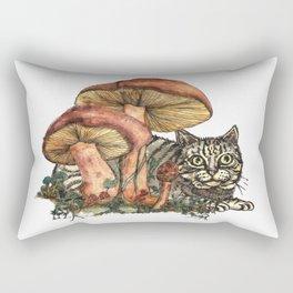 Mushroom and Cat Rectangular Pillow