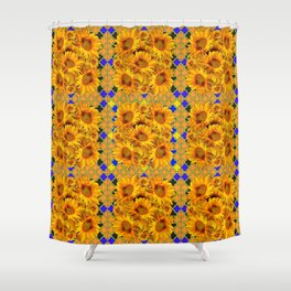 GOLDEN  YELLOW SUNFLOWERS GOLD & PURPLE PATTERN Shower Curtain
