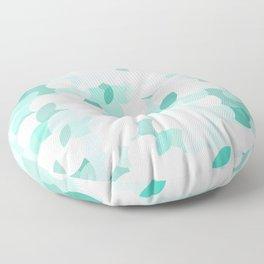 Teal blue abstract fluffy clouds, soft blue summer design  Floor Pillow