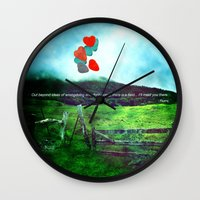 daria Wall Clocks featuring there is a field... I'll meet you there. by Deepti Munshaw