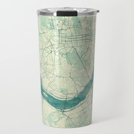 Seoul Map Blue Vintage Travel Mug