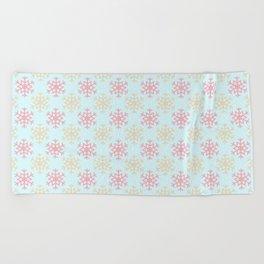 Beautiful Winter Snowflake Pattern Beach Towel
