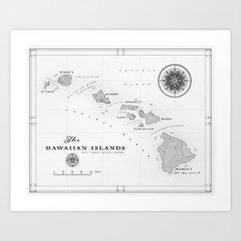 The Hawaiian Islands [Black & White] Map Print Kunstdrucke