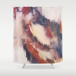 Entranced: a minimal abstract piece in pink, red, purple, and gold Shower Curtain