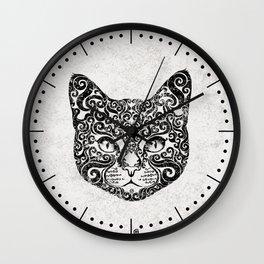 Swirly Cat Portrait (b/w) Wall Clock