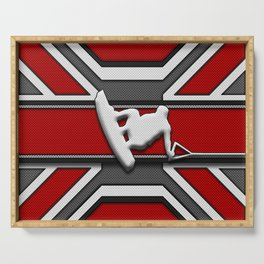 Red and White Wakeboard Rider Stunt Sports Design Serving Tray
