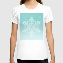 Typographic Snowfake Greetings - Ombre Teal T-shirt