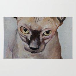 Artwork, animal, oilpainting. Sphynx. Cat Rug