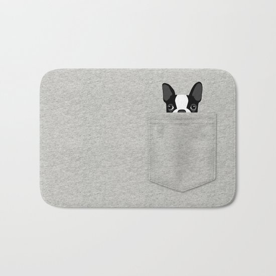 Pocket Boston Terrier - Black Bath Mat
