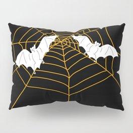 Halloween Orange Spider web with Bats Pillow Sham