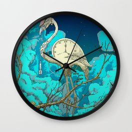 Surreal Flamingo Night By The Crescent Moon Wall Clock