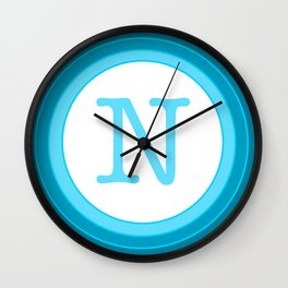 Blue letter N Wall Clock
