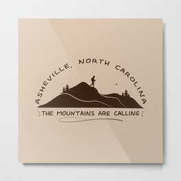 Asheville - The Mountains Are Calling - AVL 10 Brown Metal Print