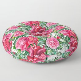 Watercolor heart with floral design Floor Pillow