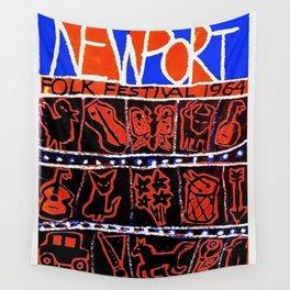 Vintage 1964 Newport Folk Festival Advertisement Poster Wall Tapestry
