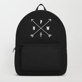 PNW Pacific Northwest Compass - White on Black Minimal Backpack