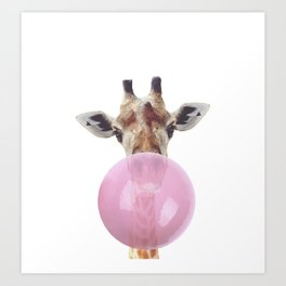 Bubble Gum - Giraffe Art Print