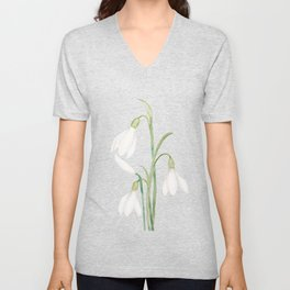 angelic snowdrop flowers watercolor Unisex V-Neck