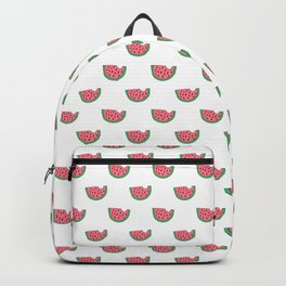 Watermelon - Summer Doodle Pattern in Pink and Green on White Background Backpack
