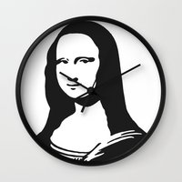 mona lisa Wall Clocks featuring Mona Lisa by b & c
