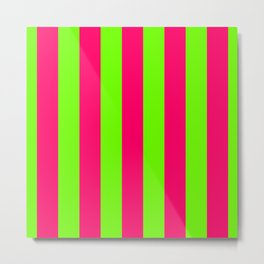 Bright Neon Green and Pink Vertical Cabana Tent Stripes Metal Print