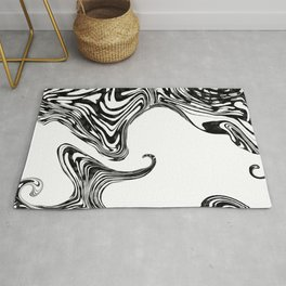 Black and White Liquid Marble Effect Design Rug