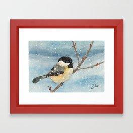 Chickadee Winter Perch Framed Art Print