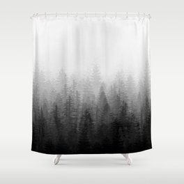 Into The Misty Nature - Black & White Shower Curtain