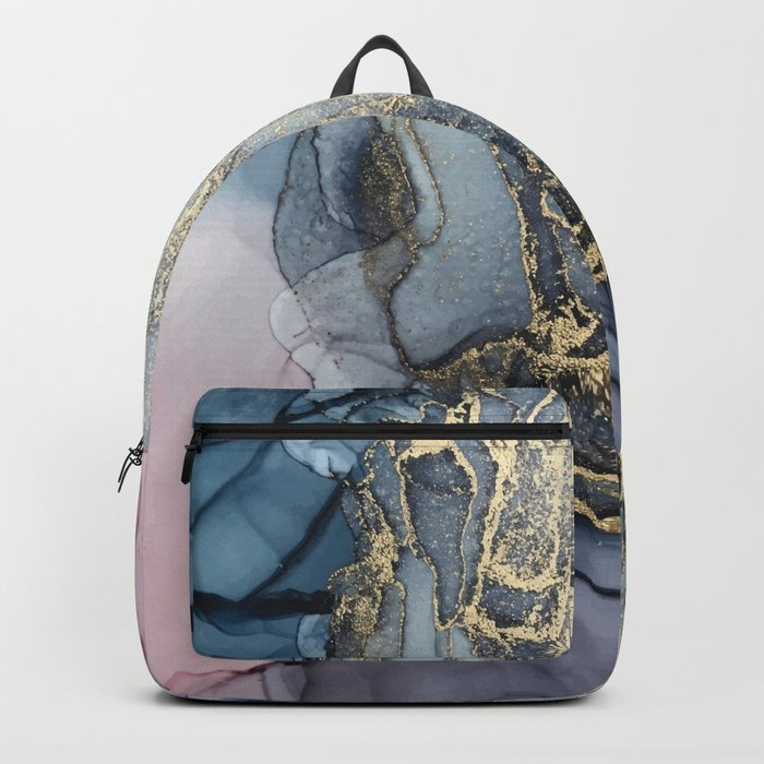 Blush, Payne's Gray and Gold Metallic Abstract Rucksack