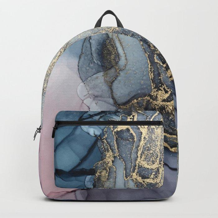Blush, Payne's Gray and Gold Metallic Abstract Rucksack