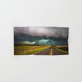 On the Road - Highway Leads to Intense Storm in Oklahoma Hand & Bath Towel