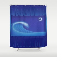 gravity Shower Curtains featuring Gravity by ZooLN Art