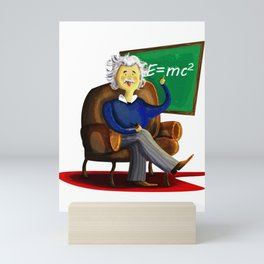 Einsten in his easy chair smoking a pipe quietly Mini Art Print