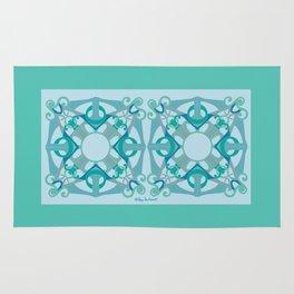 Support Love Mandala x 2 - Aqua/Blue Rug