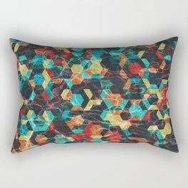 Colorful Half Hexagons Pattern #07 Rectangular Pillow