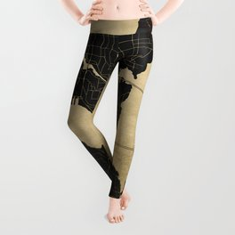 Seattle Black and Gold Map Leggings