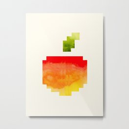 Pixel Watercolor Peach Geometric Fruit Colorful Pink Red Yellow Sunset Colors Metal Print