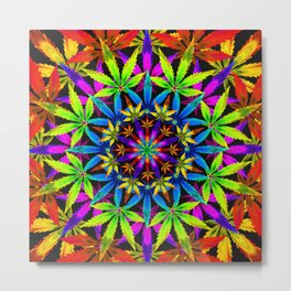 Stoners' Mandala Cannabis Leaves Metal Print