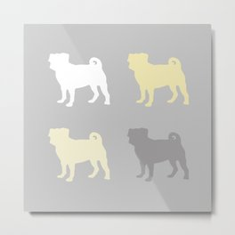 Grey and Yellow Pugs Pattern Metal Print